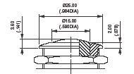 Serie AV  (pulsadores de seguridad, simple polo, panel, momentáneo (NO), cuello: diám.22mm(.866), caja corta, terminales de tornillo para cables 1,5mm2 máx., actuador curvado)