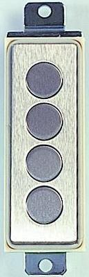 Teclado inox antivandálico, Serie T4VRL , 4 teclas, redonda , diám.17mm , retroiluminado, rojo, naranja, verde, azul