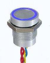PBAR1AF0002A0S-Serie PBA, Pulsadores piezoeléctricos, Panel, diám.16mm (.630)( Operador plano, altura 4,50 (.177), Normalmente abierto (NO),pulso, Hilos sueltos, Anodizado natural, Anillo estándar - 5VDC, Rojo)