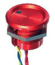PBAR2AF0000L0S-Serie PBA, Pulsadores piezoeléctricos, Panel, diám.22mm( Operador plano, altura 3 (.118), Normalmente abierto (NO),pulso, Hilos sueltos, Anodizado natural, con punto de iluminación -5VDC, Rojo)