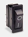 <b>Series 1500</b>( Pulsadores Rocker, Simple polo, Panel, ON-OFF, corte panel:12.2x27.2mm  Marco: 14.0x30.2mm, mate línea suave negro/negro marcado EN0602A blanco)