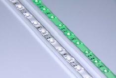 S00605 Serie: Tira rígida Huang SLIM (CW (blanco frío), 6000-7000K, 12 VDC, 9,6W/metro, CONECTOR, 120º, 60/metro, SMD)