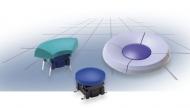 botão navimec multimec, para 3A (azul água, sem marcagem,  1/4 de donut,  soldadura convencional ou smd)